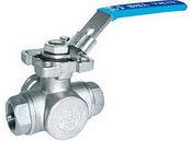 "THREE WAY SCREWED END BALL VALVE 2057D - L port  / T port, 1/4""~2"" (DN8~DN50). middle"