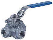 "THREE WAY SCREWED END BALL VALVE 2057N - L port  / T port, 1/4""~2"" (DN8~DN50). middle"